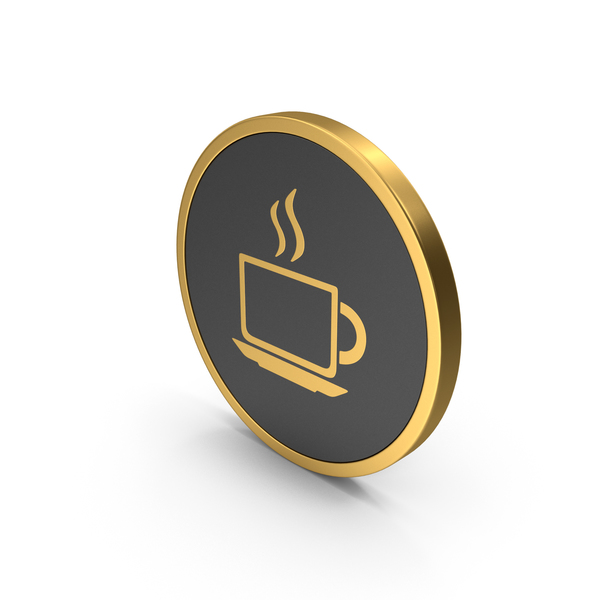 Computer: Coffee Cup Gold Icon PNG & PSD Images