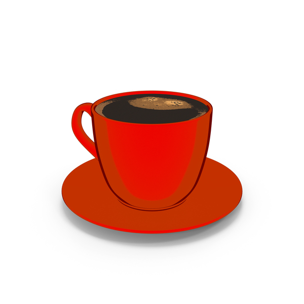 Coffee Cup Small with Plate Red Cartoon PNG & PSD Images