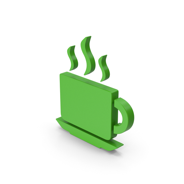 Computer Icon: Coffee Cup Symbol Green PNG & PSD Images