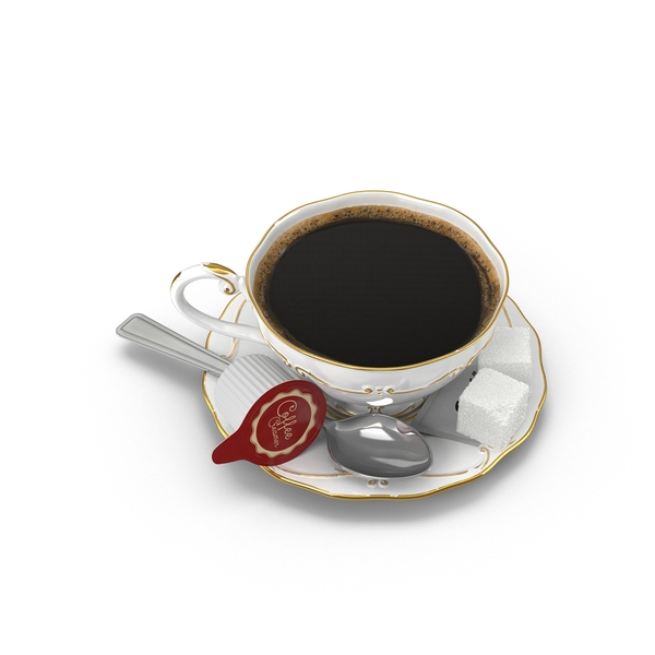 Coffee Cup with Spoon and Sugar PNG & PSD Images