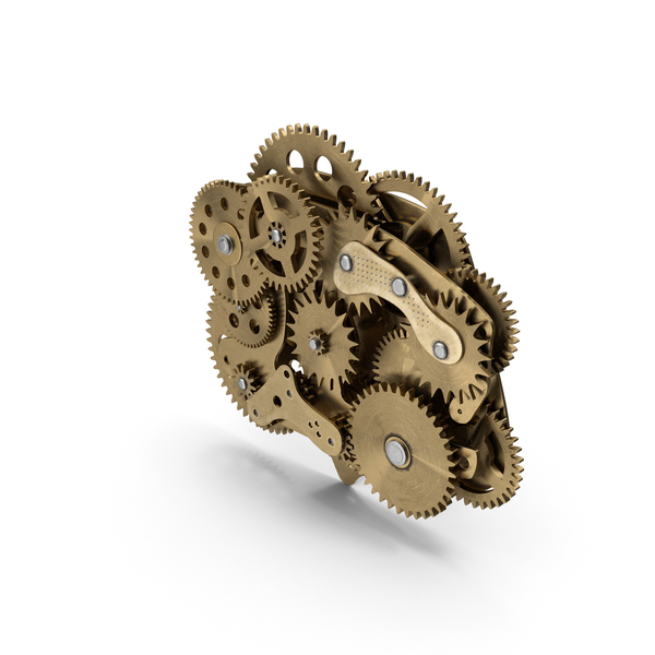 Cog Gears Mechanism Brass PNG & PSD Images