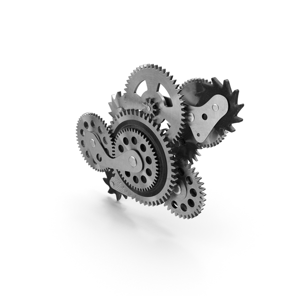 Clock Mechanism: Cog Gears Silver PNG & PSD Images