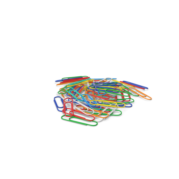 Office Supplies: Colored Paper Clips Stack PNG & PSD Images