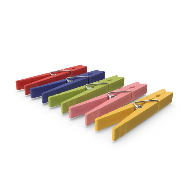 Colored Wooden Clothespins PNG & PSD Images