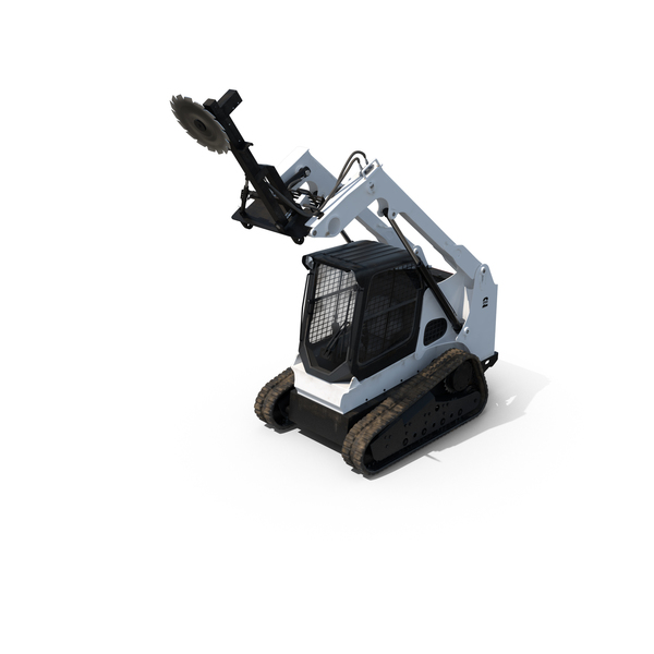 Compact Tracked Loader with Saw PNG & PSD Images