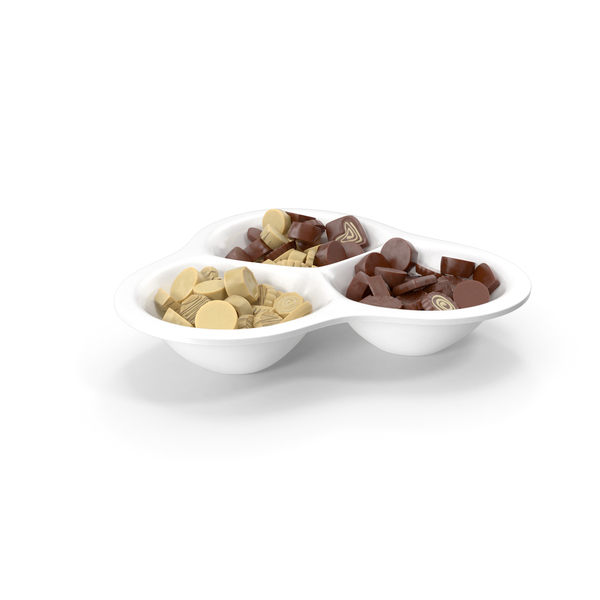 Compartment Bowl with Chocolate Truffles PNG & PSD Images