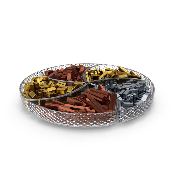 Compartment Bowl with Fancy Wrapped Chocolate Candy PNG & PSD Images