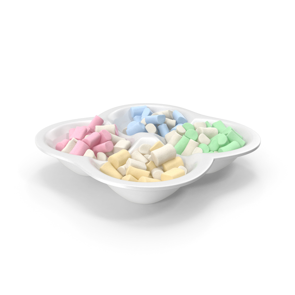 Compartment Bowl With Marshmallows PNG & PSD Images