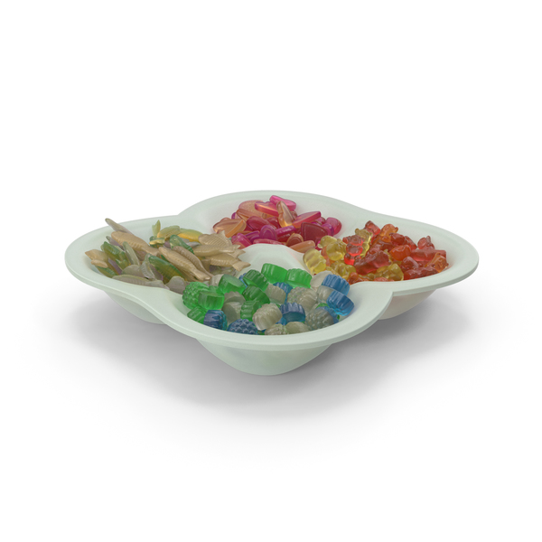 Compartment Bowl With Mixed Gummy Candy PNG & PSD Images