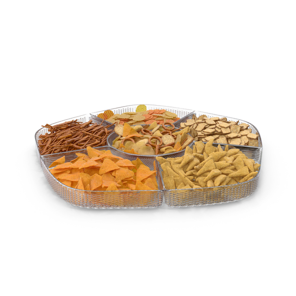 Pretzel: Compartment Bowl with Mixed Salty Snacks PNG & PSD Images