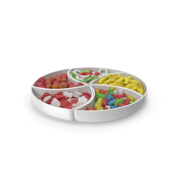 Compartment Bowl with Mixed Sugar Coated Gummy Candy PNG & PSD Images