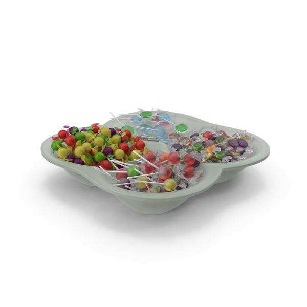 Compartment Bowl with Mixed Wrapped Hard Candy PNG & PSD Images