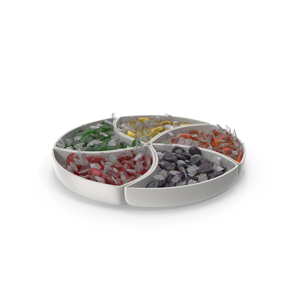Compartment Bowl with Wrapped Oval Hard Candy PNG & PSD Images