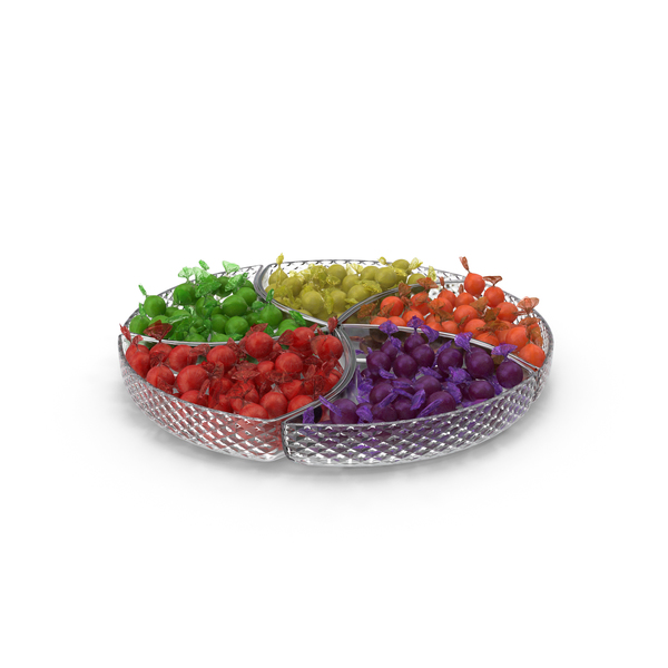 Compartment Bowl with Wrapped Spherical Hard Candy PNG & PSD Images
