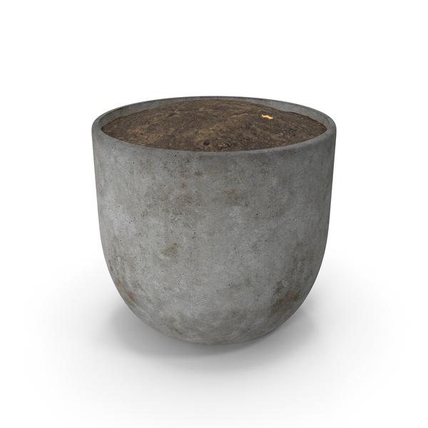 Flower Support: Concrete Pot PNG & PSD Images