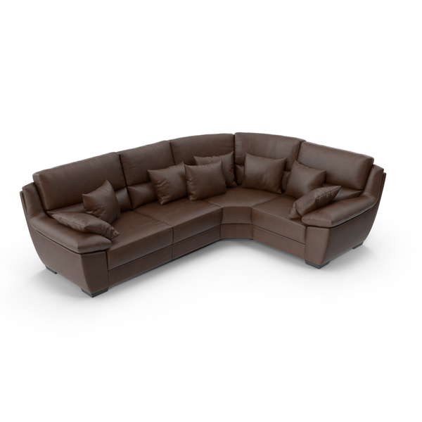 Corner Brown Leather Sofa PNG & PSD Images