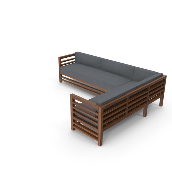 Pergola: Corner Wood Outdoor Sofa PNG & PSD Images