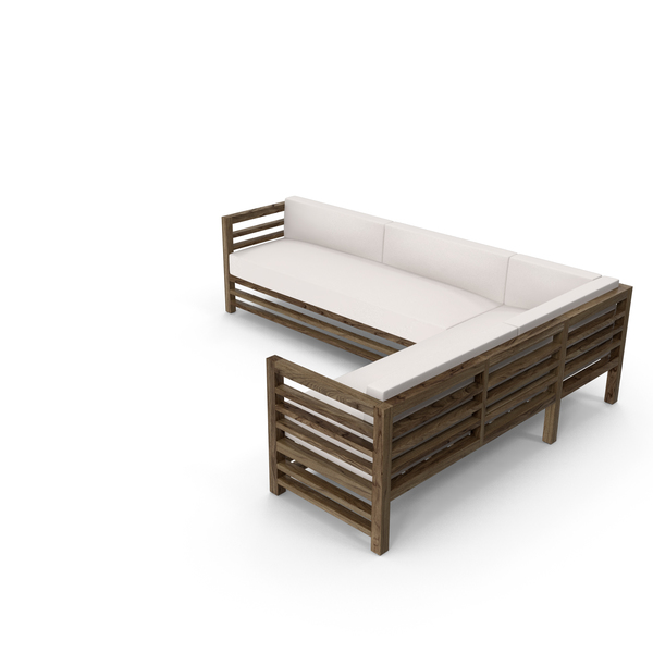 Sectional: Corner Wood Outdoor Sofa PNG & PSD Images