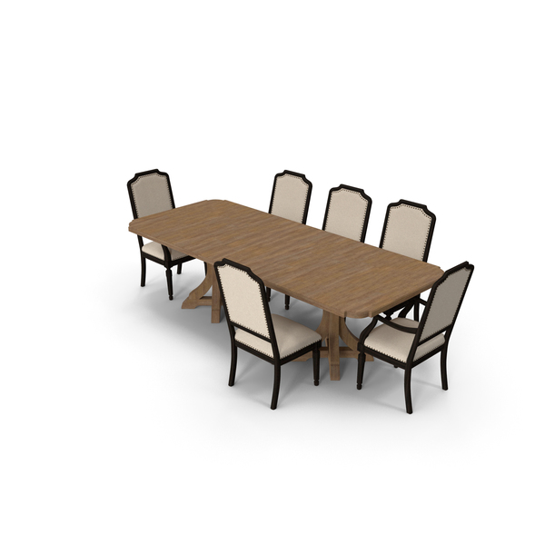 Corsica Rectangle Pedestal Dining Table Upholstered Arm Chair PNG & PSD Images