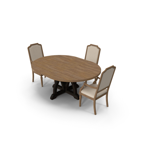Corsica Round Dining Table Upholstered Arm Chair PNG & PSD Images