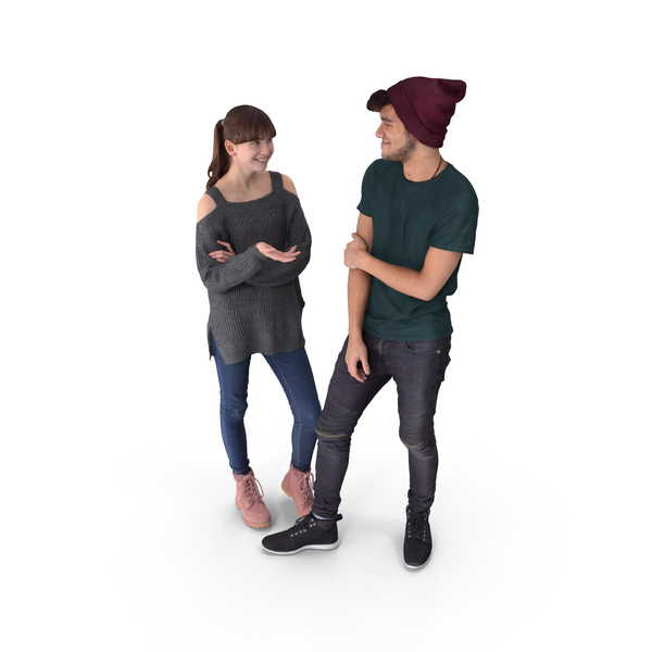 Characters: Couple Teens Posed PNG & PSD Images