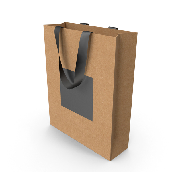 Craft and Black Bag with Black Ribbon Handles PNG & PSD Images