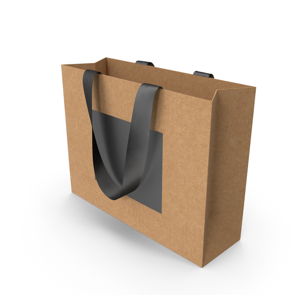 Gift: Craft and Black Packaging Bag with Black Tape Handles PNG & PSD Images