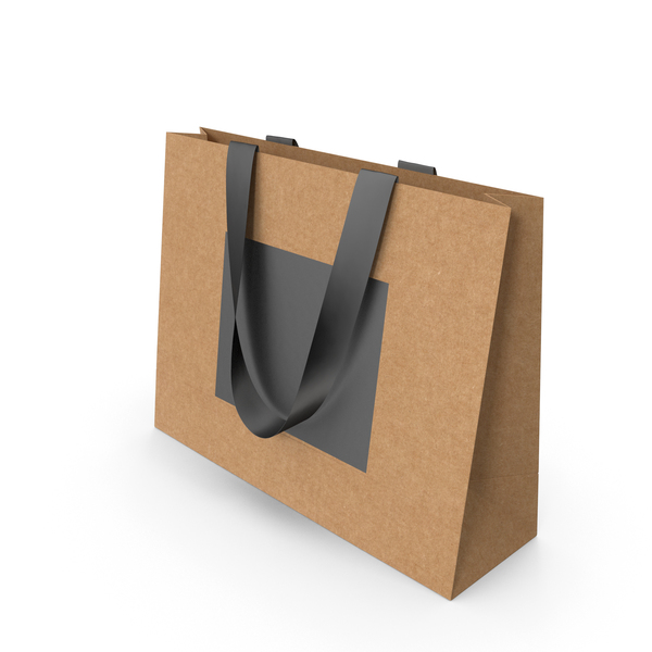 Gift: Craft and Black Paper Bag with Black Handles PNG & PSD Images
