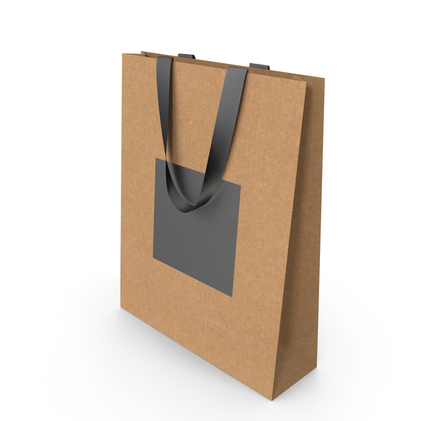 Craft and Black Paper Bag with Black Handles PNG & PSD Images