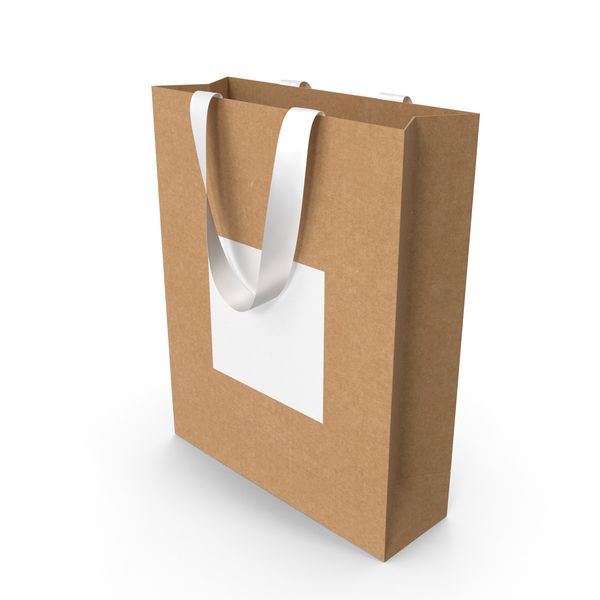 Gift: Craft and White Bag with White Ribbon Handles PNG & PSD Images