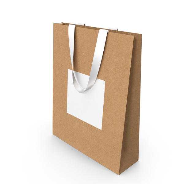 Craft and White Paper Bag with White Handles PNG & PSD Images