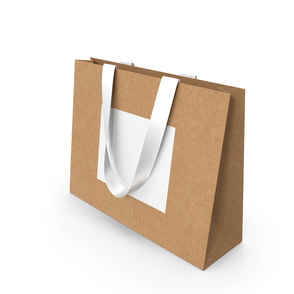 Gift: Craft and White Paper Bag with White Ribbon Handles PNG & PSD Images
