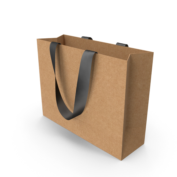 Gift: Craft Bag with Black Ribbon Handles PNG & PSD Images