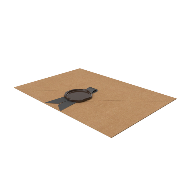 Craft Envelope with Black Ribbon and Wax Seal PNG & PSD Images