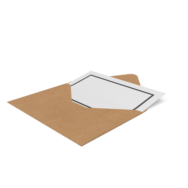 Craft Envelope with Paper PNG & PSD Images