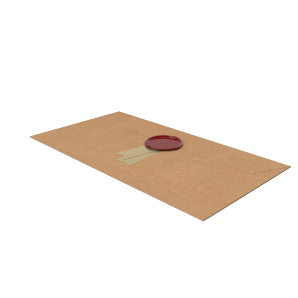 Craft Envelope with Ribbon and Wax Stamp PNG & PSD Images