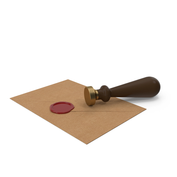 Craft Envelope with Wax Seal and Stamp PNG & PSD Images