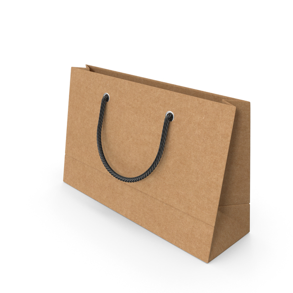 Gift: Craft Packaging Bag with Black Handles PNG & PSD Images
