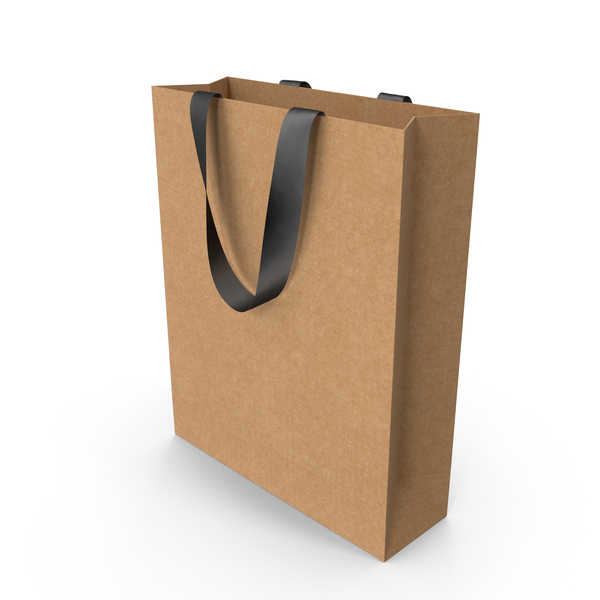 Craft Packaging Bag with Black Tape Handles PNG & PSD Images
