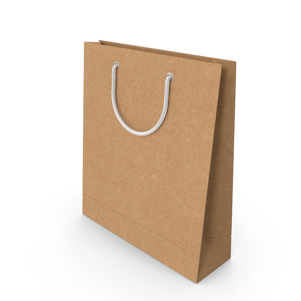 Craft Packaging Bag with White Handles PNG & PSD Images