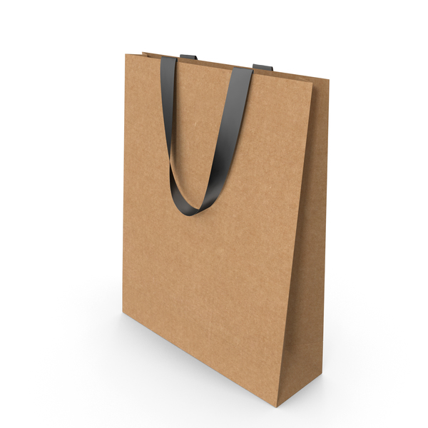 Gift: Craft Paper Bag with Black Handles PNG & PSD Images