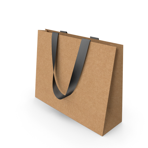 Craft Paper Bag with Black Handles PNG & PSD Images