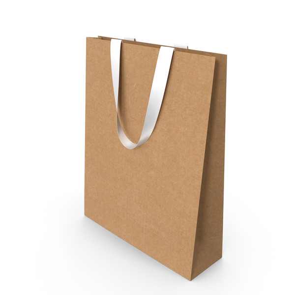 Craft Paper Bag with White Handles PNG & PSD Images