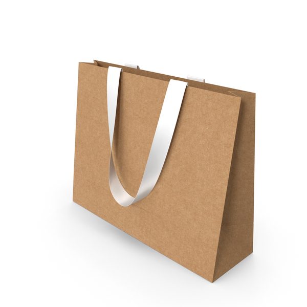 Gift: Craft Paper Bag with White Ribbon Handles PNG & PSD Images