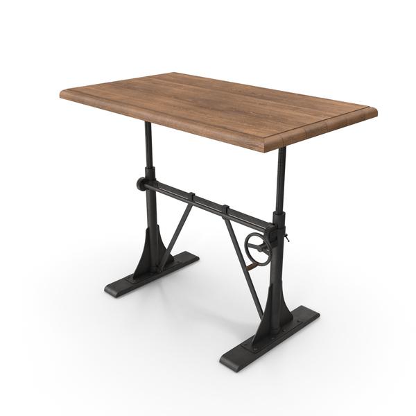 Laptop Table: Crank Sit-Stand Desk Black PNG & PSD Images