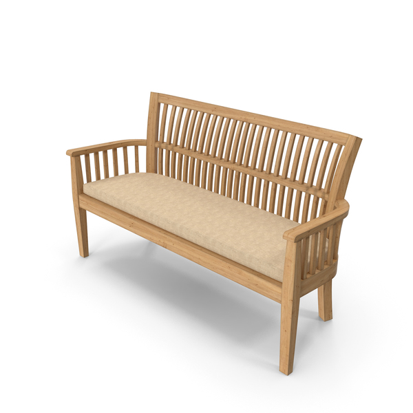 Crate and Barrel - Roseto Bench with Sunbrella Stone Cushion PNG & PSD Images