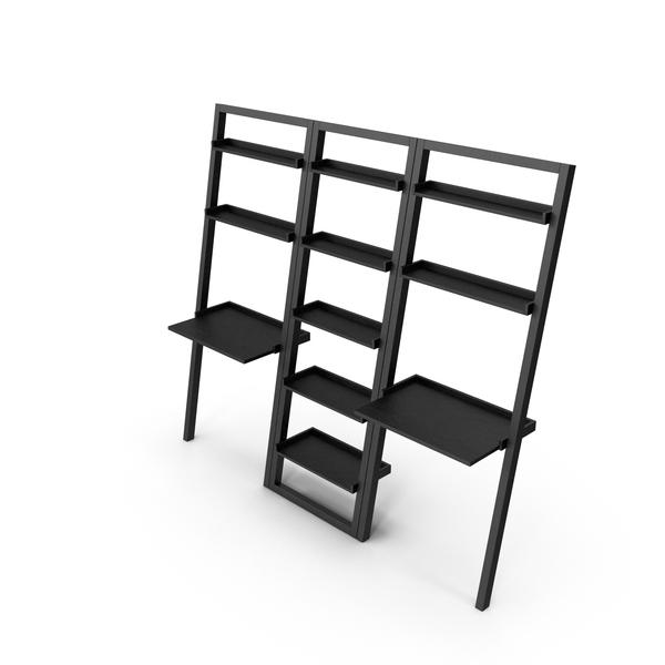 Workstation: Crate&Barrel - Sloane Grey Leaning Bookcase and2 Desks Set PNG & PSD Images