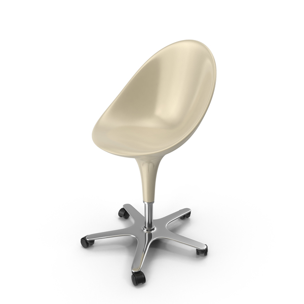 Office: Cream Bombo Chair With Wheels PNG & PSD Images