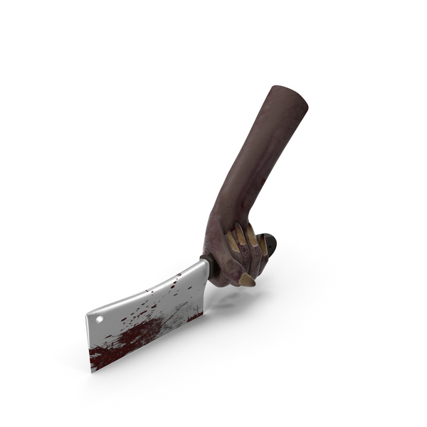 Monster: Creature Hand Holding a Bloody Cleaver PNG & PSD Images