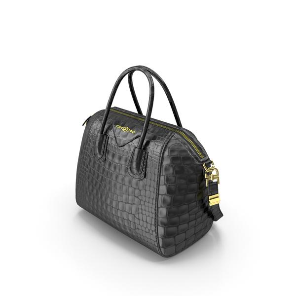 Purse: Crocodile Effect Leather Bag PNG & PSD Images